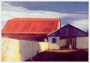 Painting by Karen Stinnett, Dog Barn at Mountain View.